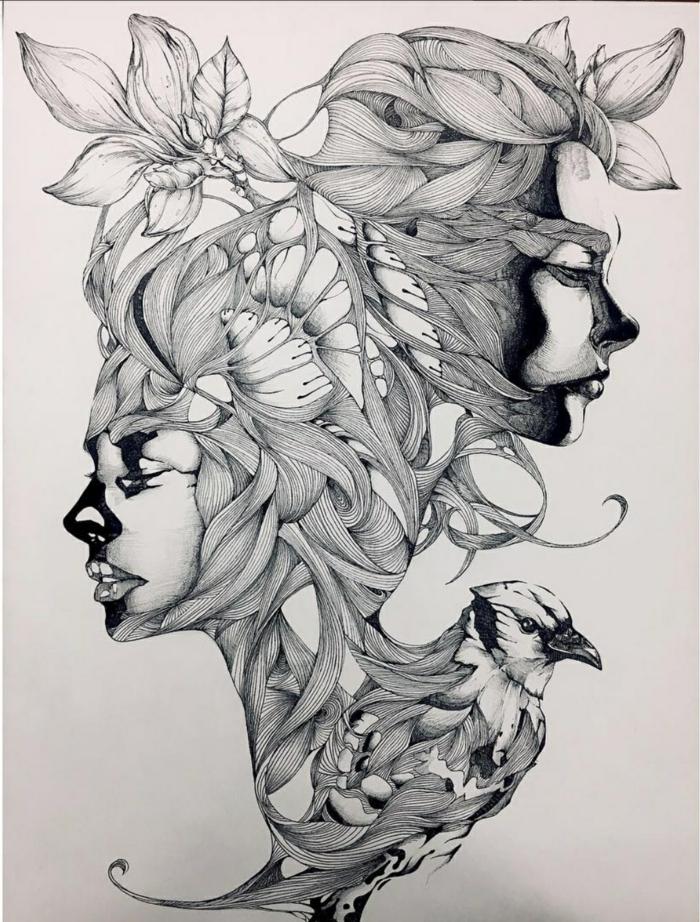fenomenales ideas de cuadros abstractos, dibujos chulos en blanco y negro, ideas de dibujos faciles de hacer