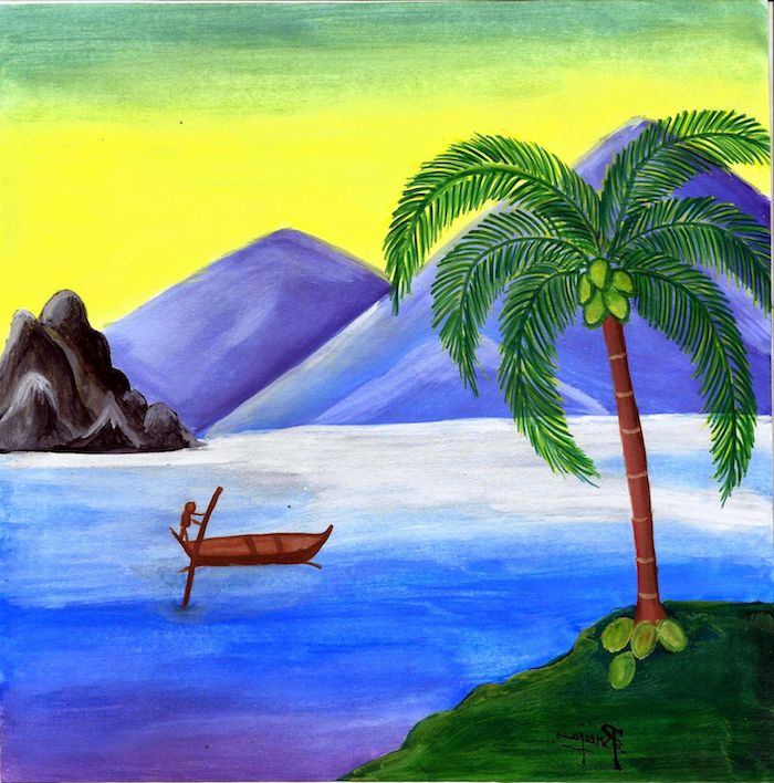 2 dibujos de paisajes naturales dibujos del mar barco pakmeras montañas combinacion de colores agua hierba ideas de dibujos chulos fotos de dibujos