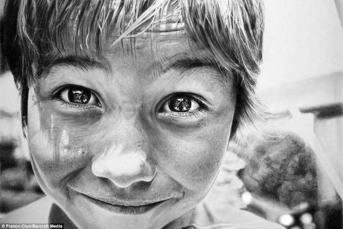 retratos hipperrealistas, ideas sobre como dibujar una cara, fotos de dibujos de personas en blanco y negro