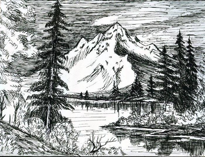 3 los mejores ejemplos de paisajes para dibujar fotos de dibujos en blanco y negro arboles montañas rios
