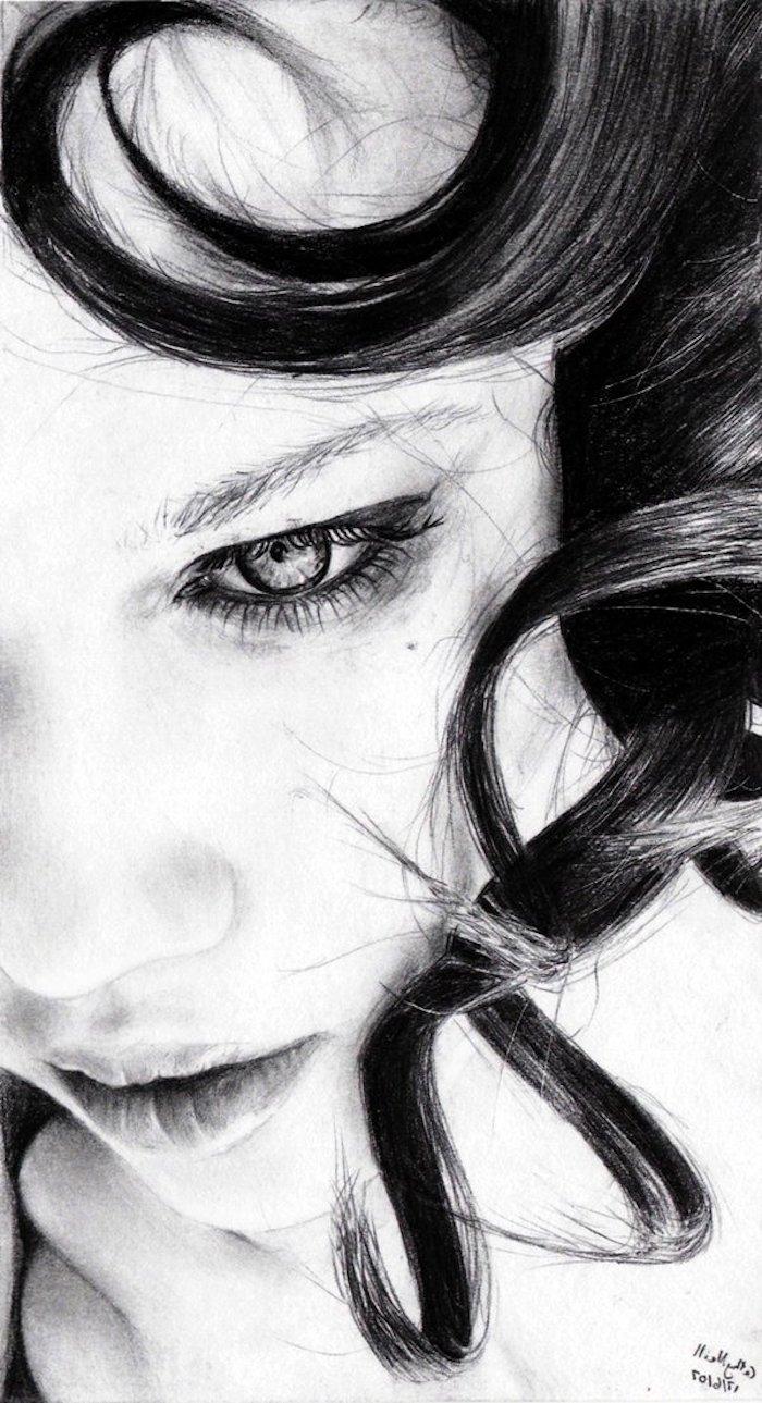 alucinantes ideas sobre como dibujar una cara de mujer, fotos de dibujos en blanco y negro faciles de hacer