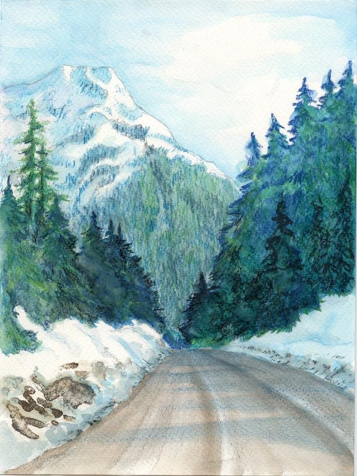 a dibujar montaña arboles ruta ideas de dibujos en colores bonitos fotos de dibujos de naturaleza