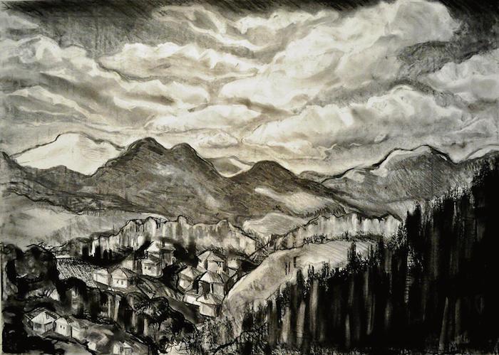 a dibujar montañas camapaña colores oscuros tecnicas de dibujos paisajes para dibujar