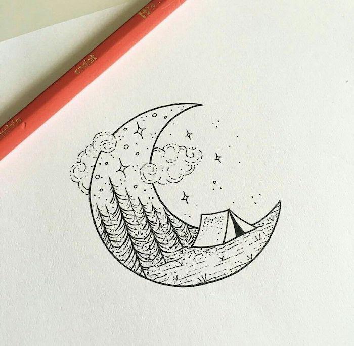 a dibujar pequeños detalles luna nubes camapaña detalles pequeños para redibujar dibujos a lapiz