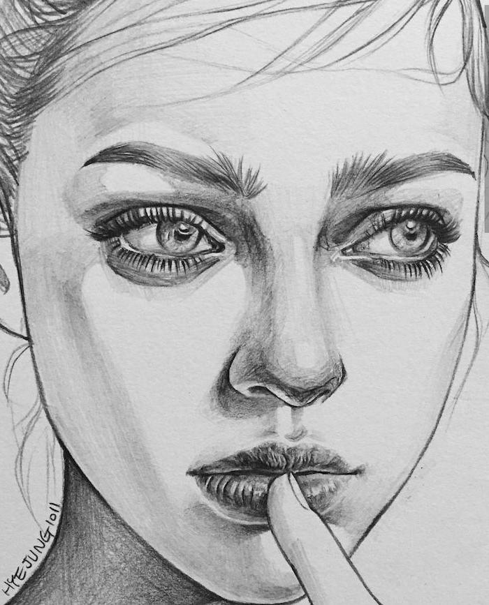 fotos de dibujos de mujeres a lapiz, ideas de dibujos realistas faciles de hacer, como dibujar una cara de mujer