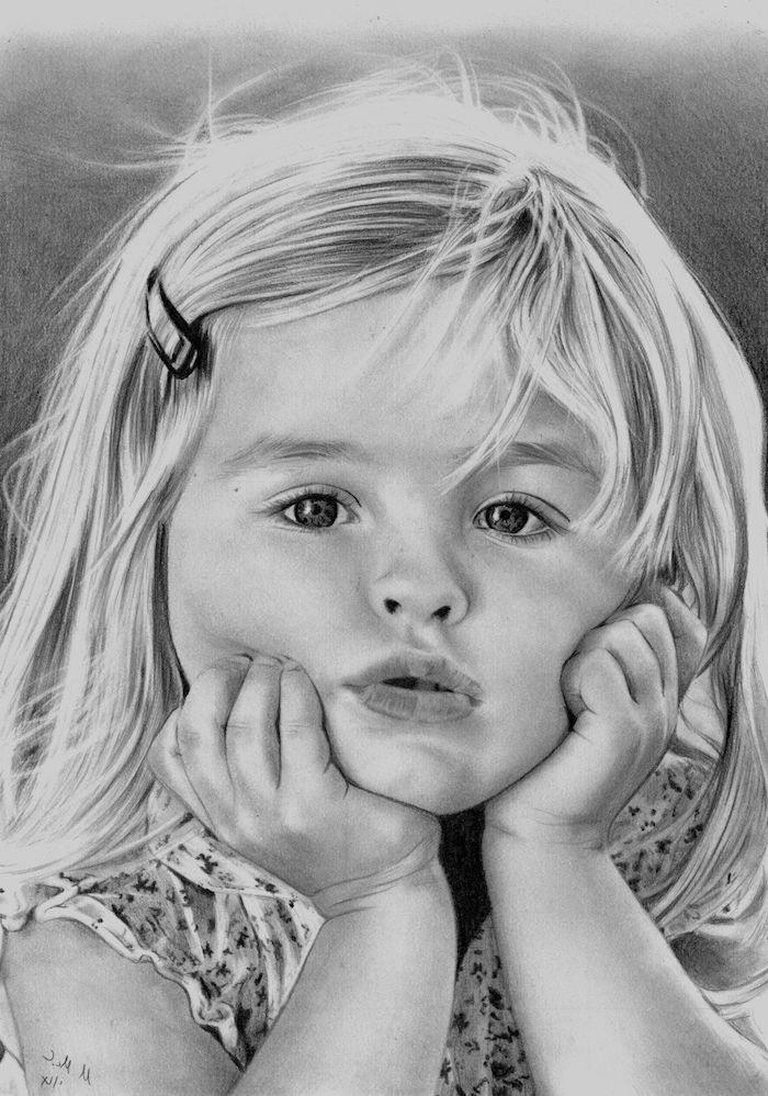 geniales ideas sobre como dibujar a una niña, dibujos a carboncillo faciles de hacer, ideas de dibujos en blanco y negro