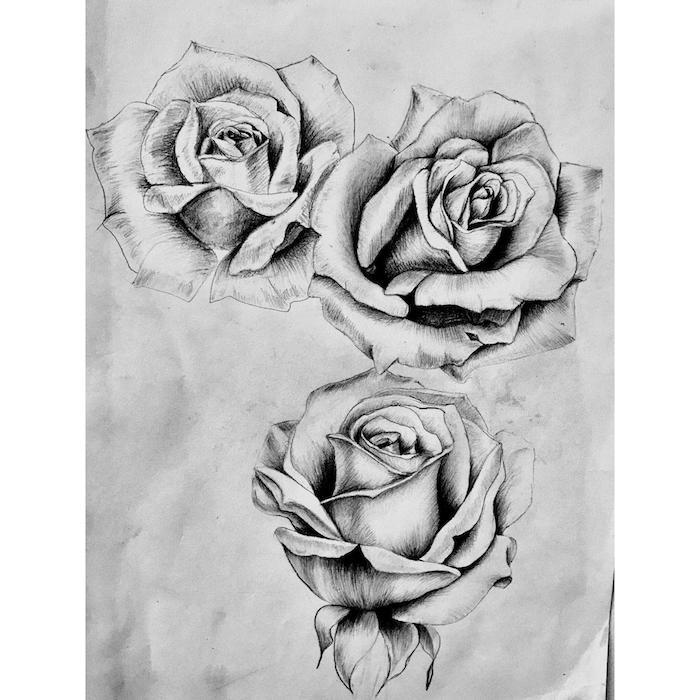 adorable ejemplo rosa dibujo tres rosas dibujadas en blanco y negro ideas de dibujos simbolicos dibujos originales paso a pao