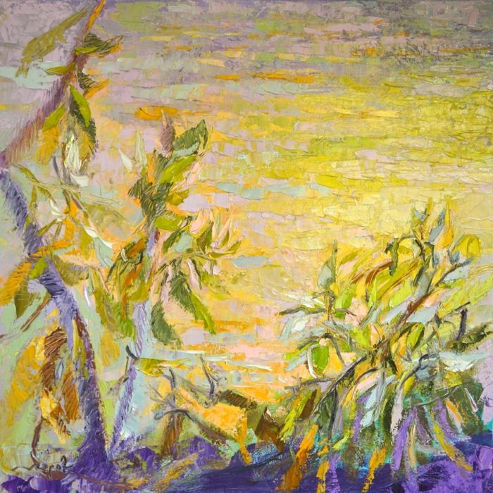 paisajes abstractos en colores bonitos vibrantes, ideas de dibujos faciles para dibujar, fotos de dibujos