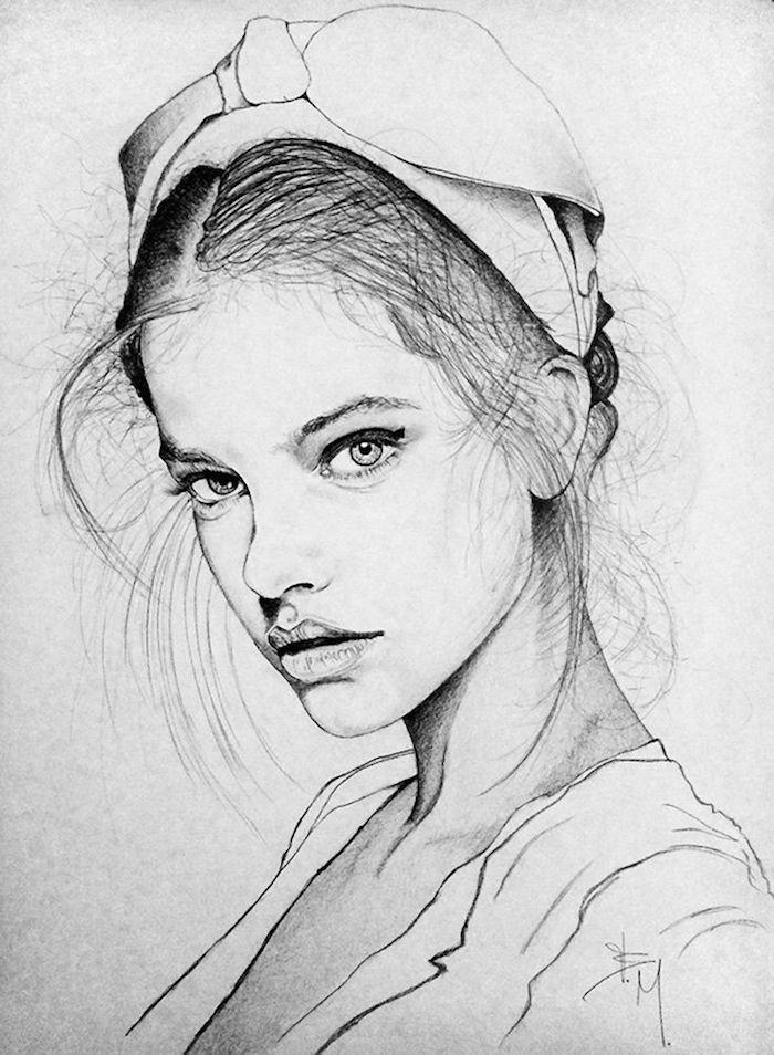 ideas de dibujos en blanco y negro, dibujos de mujeres en estilo realista, fotos de dibujos faciles de hacer, cara de perfil, cara niño dibujo, dibujo cara mujer