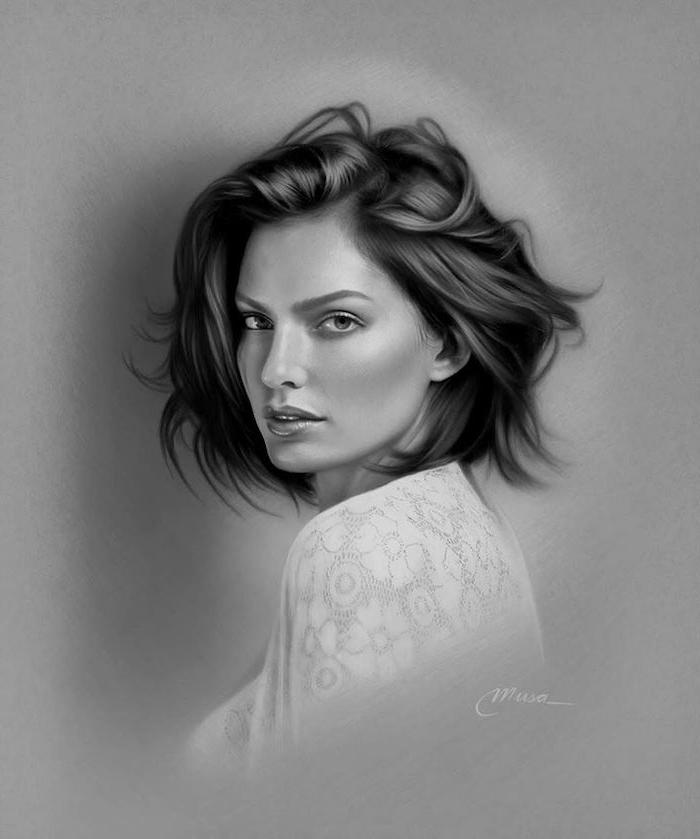 geniales ideas de retratos de mujeres realistas, ideas sobre como dibujar la cara de una mujer paso a paso en fotos