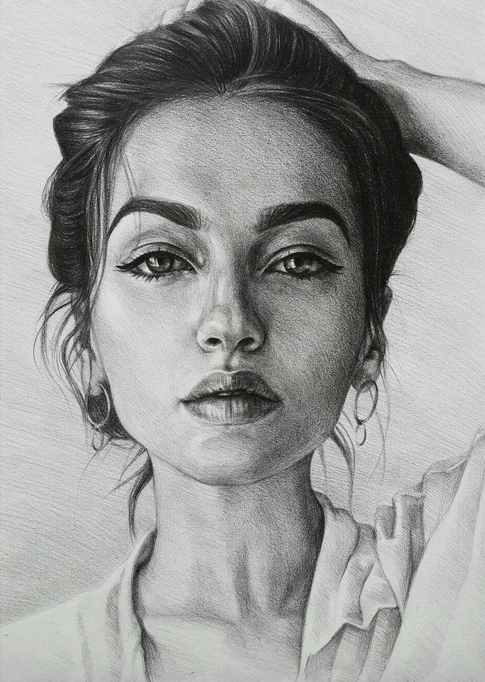 fantasticas ideas sobre como dibujar una cara de mujer, fotos de dibujos chulos y faciles de hacer, retratos a lapiz