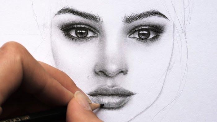 como divujar caras en estilo realista, como dibujar una cara de mujer, fotos de dibujos a lapiz, ideas de dibujos