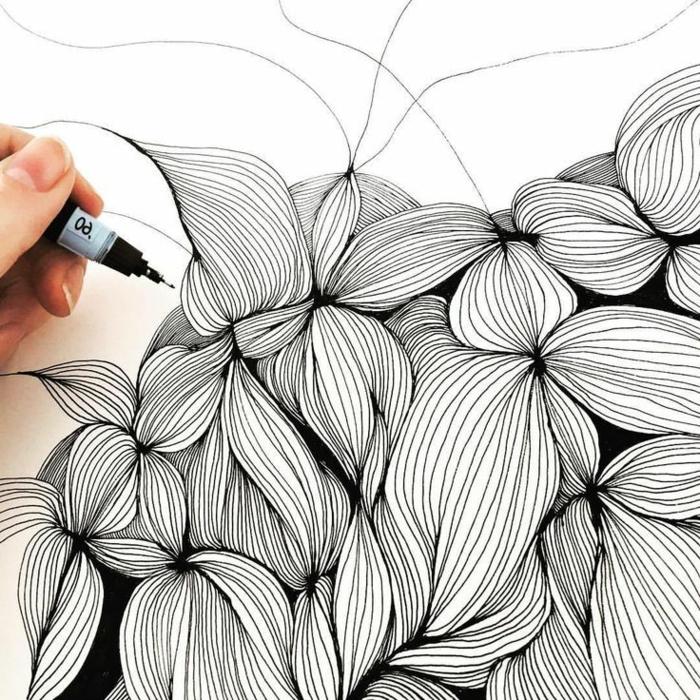 fantasticas ideas sobre como hacer dibujos abstractos con marcador negro, fotos de dibujos originales