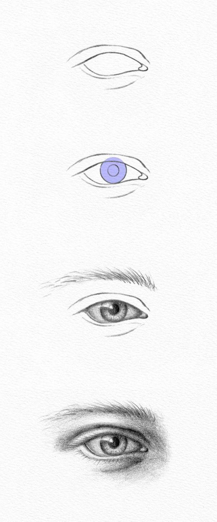 como dibujar un ojo paso a paso, ideas de dibujos en estilo realista, dibujos de caras de mujeres autenticos