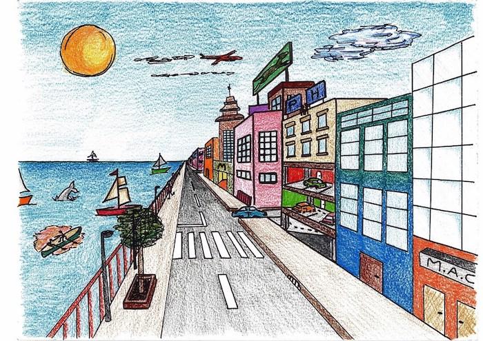 aprender a dibujar paso a paso0dibujos de paisajes urbanos edificios en diferentes colores mar