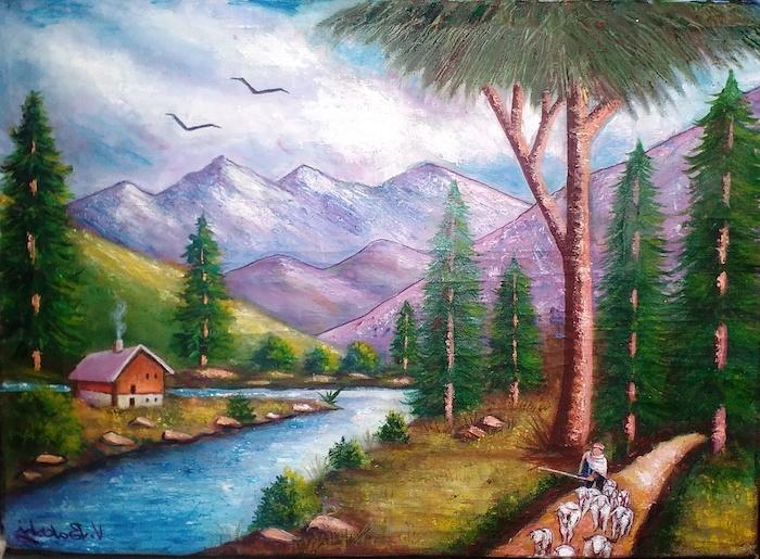 arboles aves en pleno vuelo montañas rio animales dibujos de paisajes naturales y hermosos