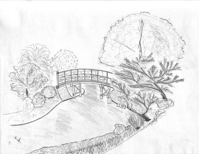 arboles dibujo puente dibujos inspiradores a lapiz paisajes para dibujar ideas de dibujos hermosos para redibujar