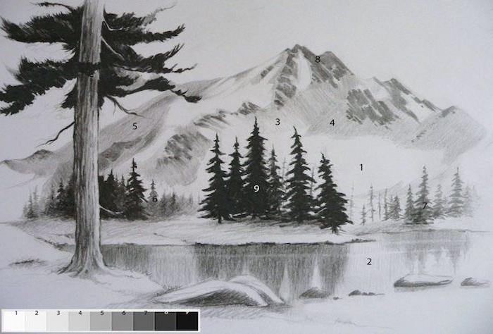 arboles montaña dibujos de paisajes a lapiz ideas de dibujos inspiradores en blanco y negro fotos de dibujos originales