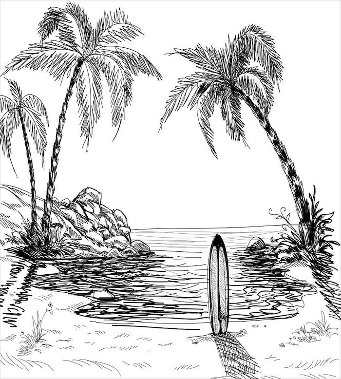 arena playa palemras ideas de dibujos chulos originales paisajes para dibujar