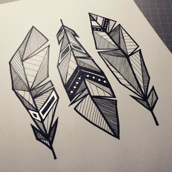 dibujos en blanco y negro de plumas, ideas de dibujos originales y faciles de hacer en casa, dibujos geometricos