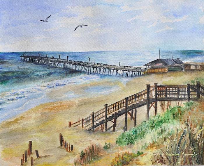 aves en pleno vuelo cielo azul playa arena mar olas del mar casas dibujos bonitos para dibujar inspiradoras