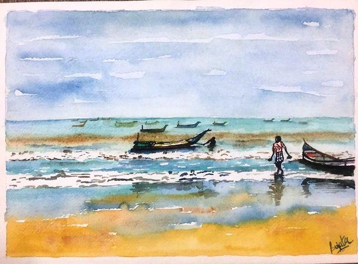 barcos mar olas cielo azul dibujos bonitos para dibujar fotos de dibujos hermosos de la naturaleza que inspiran ideas de paisajes