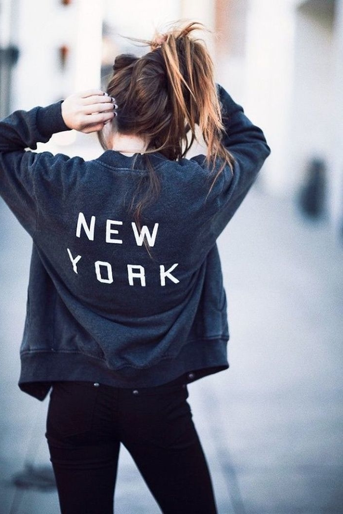 basicos del estilo tumblr sudaderas tumblr con letras nueva york pantalon pitillo negro ideas de prendas