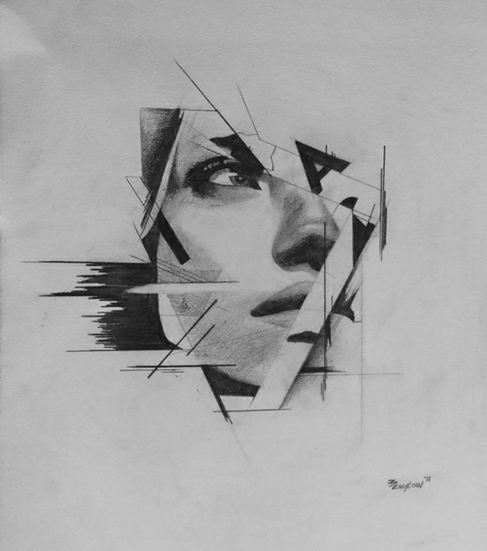 dibujos de personas en estilo abstracto, fotos de dibujos chulos e inspiradores, dibujos en blanco y negro de mujeres