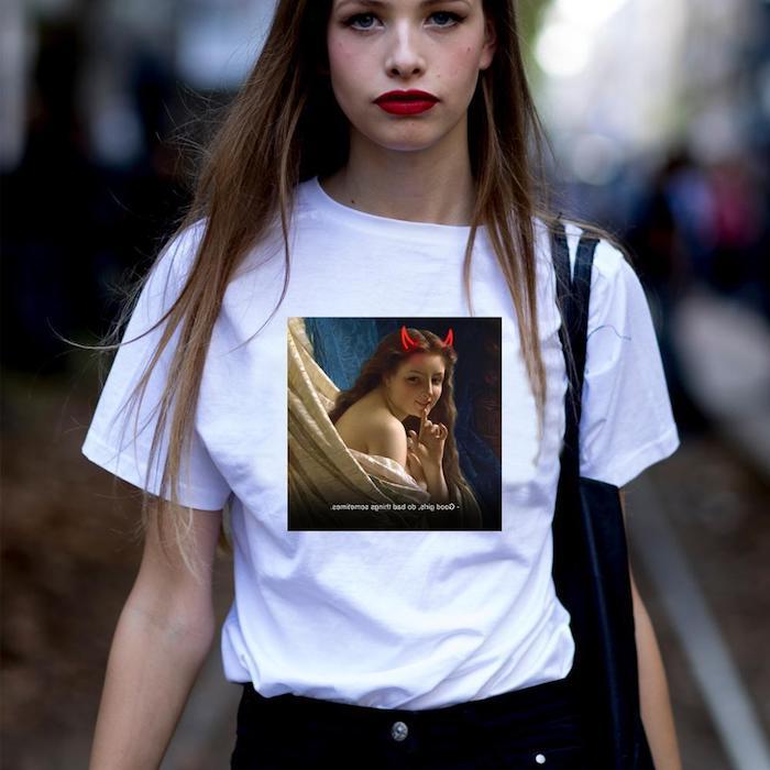camiseta mujer diablo chica pelo suelto muy alto vaqueros negros ajustados