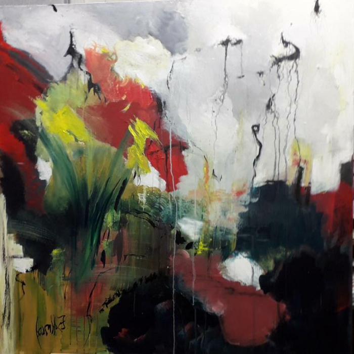 paisaje abstracto en colores oscuros, ideas de dibujos originales inspiradores, dibujos faciles de hacer