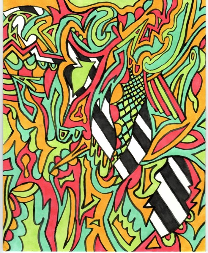 como dibujar cosas chulas en casa, ideas de dibujos faciles de hacer, cosas para redibujar en estilo abstracto