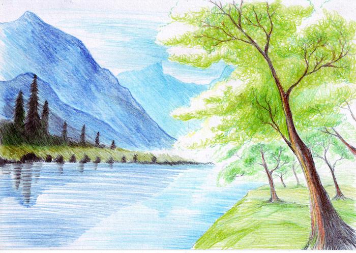 como dibujar un paisaje montañas lago arboles colores con lapices verde azul ideas de dibujos chulos y faciles de hacer en casa
