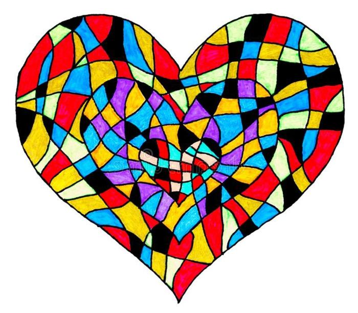 como dibujar un corazon paso a paso, ideas de dibujos coloridos y chulos, fotos de dibujos inspiradores en colores