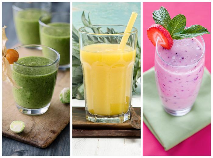 tres variantes de smoothies caseros de frutas y verduras, ideas sobre desayunos saludables a base de frutas