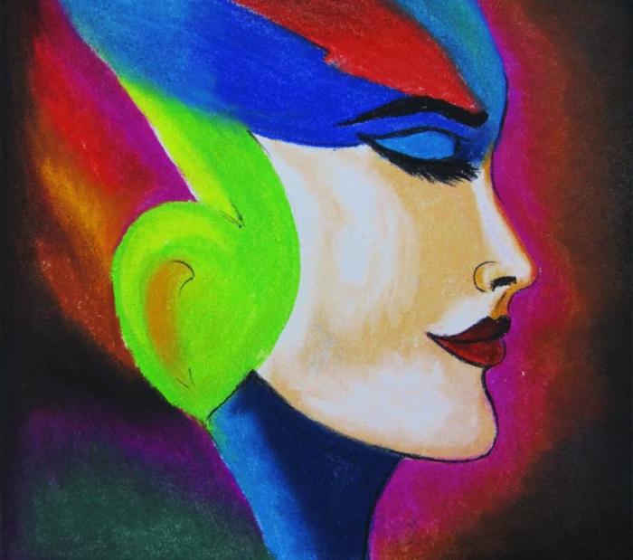 cuadros abstractos originales en colores vibrantes, ideas de dibujos chulos faicles de hacer en casa