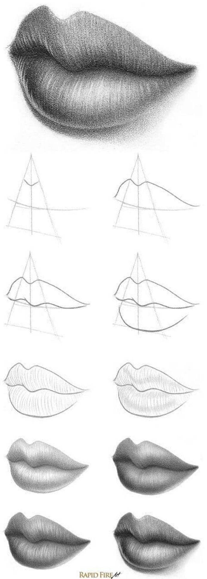 dibujo boca paso a paso, ideas de tutoriales de dibujos de caras en estilo realista, dibujos de personas faciles