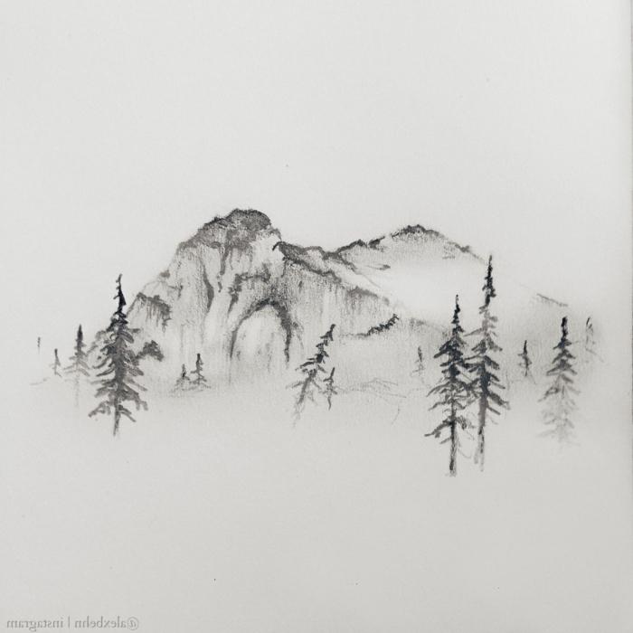 paisajes abstractos super bonitos, dibujos abstractos de montaña, ideas de dibujos inspiradores para redibujar