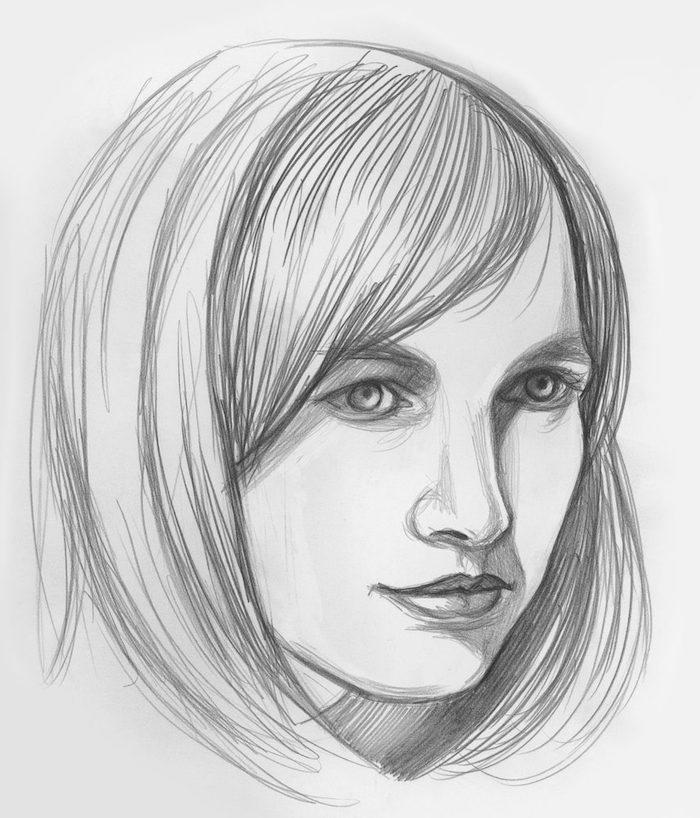 ideas para dibujar personas a lapiz, diubujos de mujeres en estilor realista, cara de perfil, cara niño dibujo, dibujo cara mujer