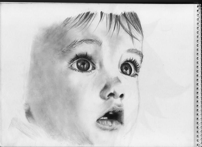 dibujo de bebe en estilo realista, cara de perfil, cara niño dibujo, dibujo cara mujer, originales ideas de dibujos realistas