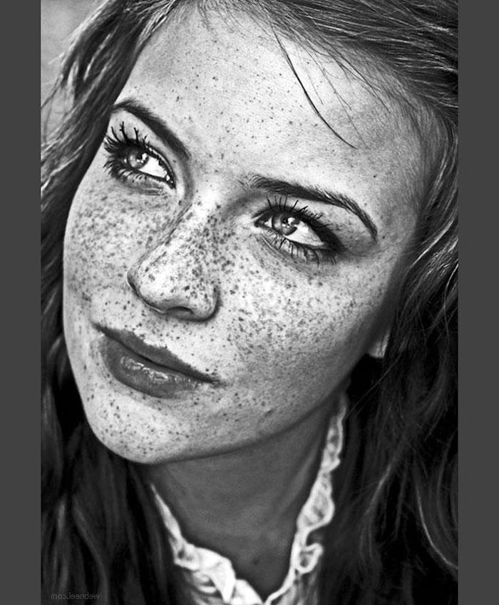 retratos de mujeres en estilo realista, fotos con ideas de retratos originales, como dibujar una cara de mujer