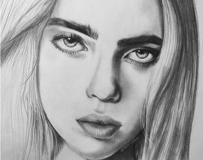retratos de mujeres bontios e inspiradores, fotos con ideas de retratos en estilo realista, ideas de dibujos a lapiz faciles para principiantes