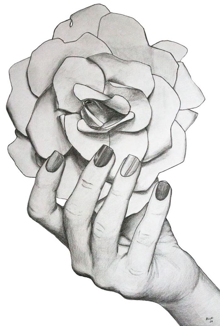 dibujo rosa a lapiz dibujos de flores bonitos fotos de dibujos que inpiran mano mujer rosa grande