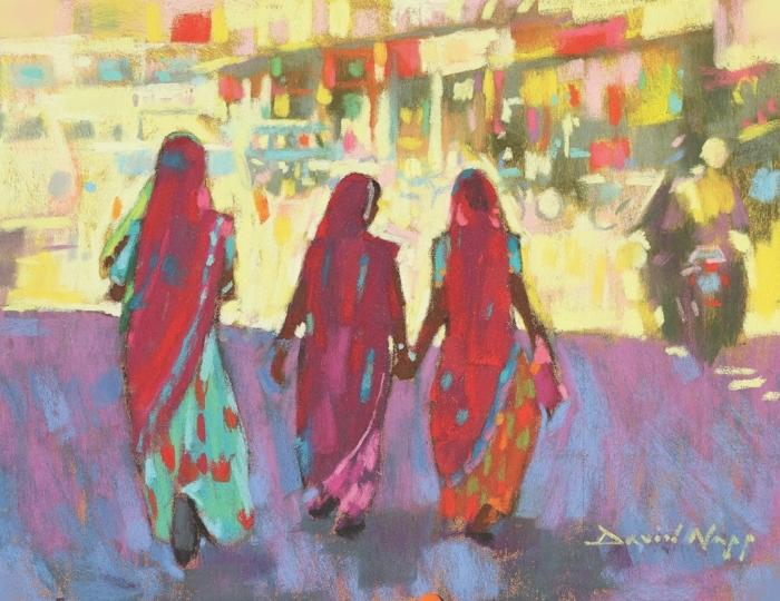 dibujo en estilo abstracto de tres mujeres, ideas de dibujos en colores bontios, fotos de dibujos abstractos y faciles