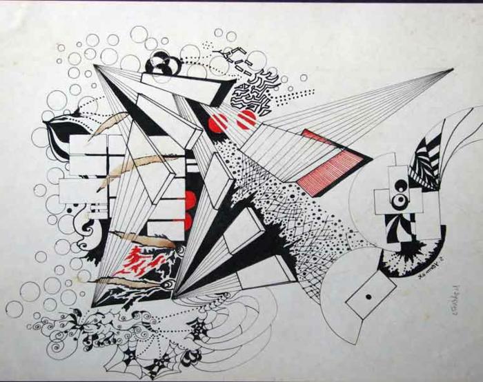 excelentes ideas de dibujos arte abstracto, fotos de dibujos en blanco, negro y rojo, ideas de dibujos originales