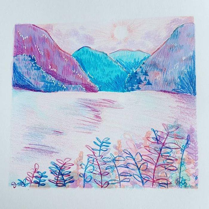 dibujos chulos en colores pastel paisajes originales con detalles de naturaleza ideas de paisajes chulos y faciles de hacer