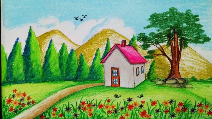 dibujos de paisajes para niños casa arboles flores pinos ideas de dibujos infantiles