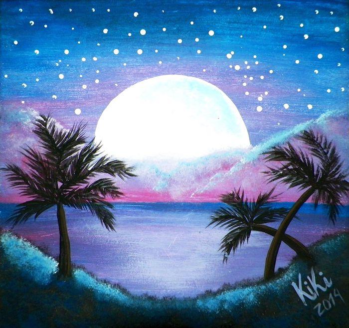 dibujos de paisajes para niños en bonitos colores luna estrellas mar palmeras dibujos chulos de naturaleza