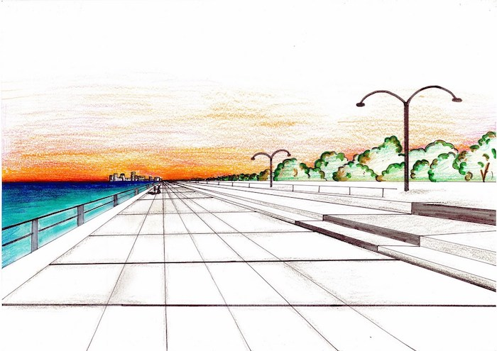dibujos de paisajes para niños y adultos calle arboles dibujos faciles de hacer avanzados