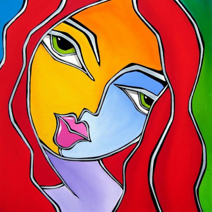 dibujos en colores vibrantes, retratos de mujeres dibujados en estilo abstracto, las mejores ideas de dibujos