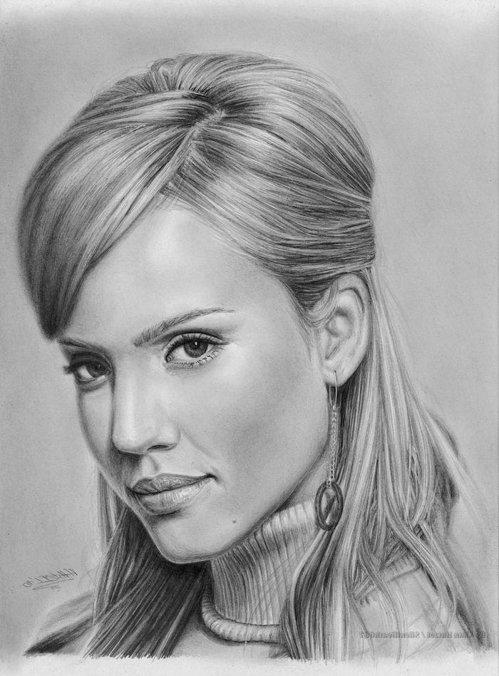 preciosos ejemplos de dibujos de mujeres en estilo realista, ideas de dibujos chulos, fotos de dibujos originlaes